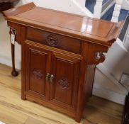 A Chinese hardwood side cabinet, width 74cm, depth 36cm, height 74cm
