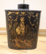 A Regency toleware tea canister, height 40cm