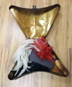 A tri-corn hat tin with plumes