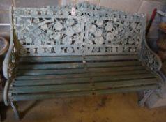 A Coalbrookdale style nasturtium pattern painted cast metal garden bench, width 132cm