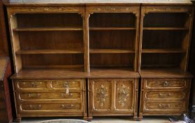 Three American stencilled walnut cabinets, total width 270cm, depth 44cm, height 181cm