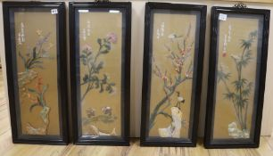 Four Chinese coral and hardstone pictures