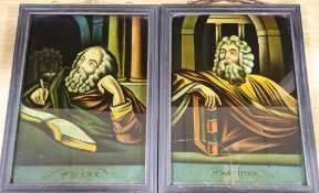 A pair of reverse glass pictures of St Mark and St Matthew, width 25cm height 35cm