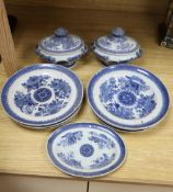 A 19th century Chinese export blue and white medallion pattern thirteen piece part dinner service