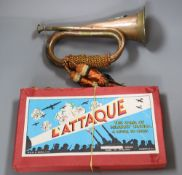 A copper and brass bugle with Sutherland & Argyle crest and a L'Attaque military game