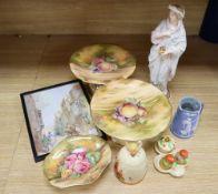 A Victorian John Bevington earthenware female figure, a Japanese cruet and a honey pot in Clarice