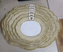 A graduated set of six Ridgway armorial porcelain meat platesCONDITION: Graduated plates - second