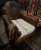 A French tan leather club armchair (a.f), width 76cm, depth 70cm, height 87cm