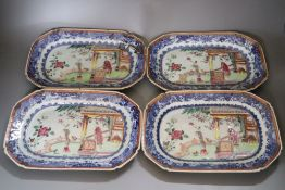 A set of four 18th century Chinese Export famille rose dishes