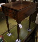 A Regency mahogany drop flap work table, width 40cm, depth 50cm, height 71cm