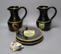 A part-set of 19th century Swiss glazed terracotta items, signed, Desa Steffisburg, each with