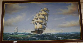 A modern oil on canvas of clipper ships at sea, 60 x 121cm