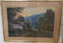 Early 20th century English School, pastel, Farmer and two horses at sunset, 30 x 45cm