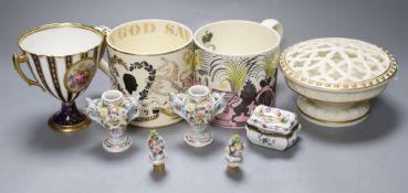 A Ravilious for Wedgwood ERII Coronation mug, a Guyatt for Wedgwood Silver Jubilee mug and five