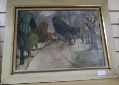 Laurie Taylor (1937-), oil on canvas, 'Road with treeforms', signed and inscribed verso, 38 x 55cm