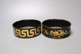 Two Regency papier mache wine coasters, with gilded detail, 13cm