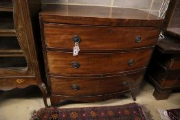 A Regency mahogany three drawer bowfront chest, width 91cm, depth 50cm, height 90cm