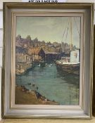 Mary Remington (1910-2003), oil on board, Back of the harbour, Newhaven, signed, 46 x 34cmCONDITION: