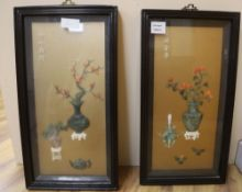 A pair of Chinese coral and hardstone pictures