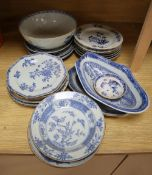 Twenty nine pieces of 19th century Chinese blue and white export porcelain to include dishes, plates