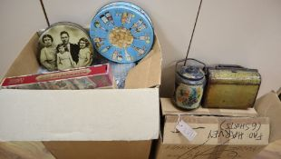 Twenty Huntley and Palmer novelty biscuit tins and a related reference book, British Biscuit Tins