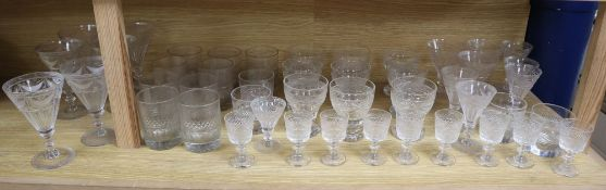 A collection of assorted antique and later glass ware (46)CONDITION: Generally good condition