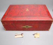A red leather despatch box bearing King George V royal cypher, with key, width 41cm