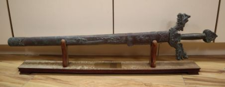 A Chinese bronze model of a sword, length 93cm