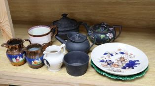 A group of 19th century Wedgwood etc. basalt wares, copper lustre and other British