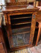 A late Victorian burr walnut sheet music cabinet, width 57cm depth 39cm height 100cm