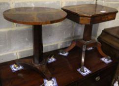 A Regency rosewood work table (cut down) together with a Victorian circular rosewood occasional