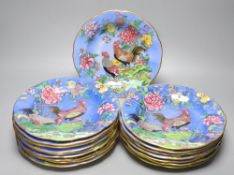 Seventeen Carlton Ware 'Cock & Peony' cabinet plates, chinoiserie design and gilt borders (some