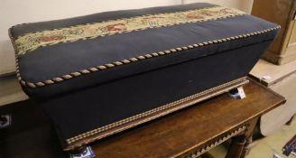 A Victorian upholstered ottoman, width 117cm, depth 58cm, height 43cm