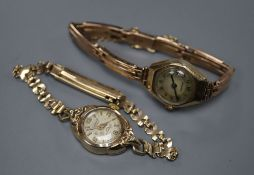 Two 9ct gold ladys' wristwatches, one on 9ct gold expanding bracelet, gross 27.5 grams.