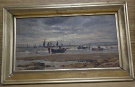 WMB c.1900, oil on board, Fishing boats at low tide, initialled, 17 x 31cm