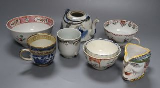 18th century Chinese and English ceramics, to include a Chinese coffee cup, painted with European