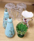 A pair of Victorian cut glass lustres, a pair of lidded glass jars, a basket and a porcelain vase