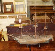 A model of a 14-gun brig sloop, L.104cm, H.85cm