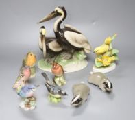 An Austrian Keramos group of pelicans, six Royal Worcester and other bird models and two Lomonosov