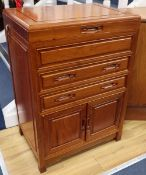 A Chinese hardwood cutlery chest, width 56cm, depth 38cm, height 78cm with assorted plated and