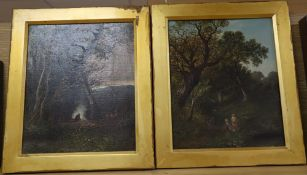 W. Yates c.1880, pair of oils on canvas, Figures in woodland, signed, 29 x 24cm