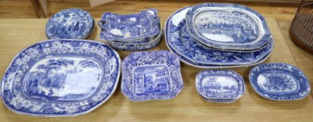 A collection of 19th / 20th century blue and white pottery including meat platters, dishes, bowls,