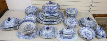 A mid 19th century Mason's ironstone blue pheasant pattern 57 piece part dinner serviceCONDITION:
