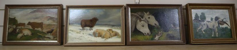 19th century English School, oil on mill board, Sheep in winter, 19 x 30cm, a pair of oils of horses