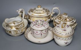 A Derby gilded part tea set, two Derby sucrier and covers and a similar dish, c.1790-1810, blue,