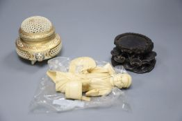 A Meiji period Satsuma reticulated pot pourri bowl and cover, 9cm and an ivory okimono (a.f.)