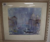 Barbara Dorf (b.1933), watercolour, Gondolas, Venice, signed and dated, 31 x 36cm
