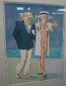 Brian Hinton, gouache, Promenade du Soir, signed, 52 x 39cm