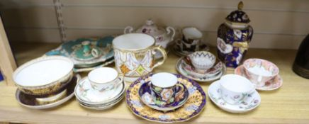 A group of Regency to early Victorian porcelain, c.1800-1845, including a porter mug, a Coalport