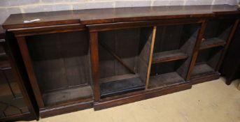 A Victorian rosewood breakfront open bookcase, width 264cm, depth 40cm, height 107cm
